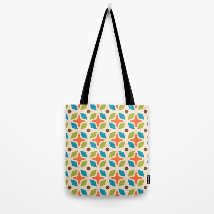 Mid Century Modern Abstract Star Dot Pattern 441 Orange Brown Turquoise Chartreuse Tote Bag