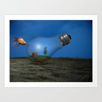 Still life with bulb Art Print