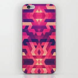 Abstract symmetric geometric triangle texture pattern design in diabolic future red iPhone Skin
