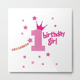 Princess 1st Birthday Metal Print