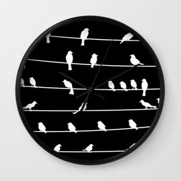 Birds on a wire pattern Wall Clock