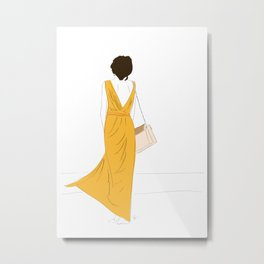 Yellow Dress Fashion Girl Metal Print