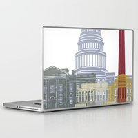 washington dc Laptop & iPad Skins featuring Washington DC skyline poster by Paulrommer