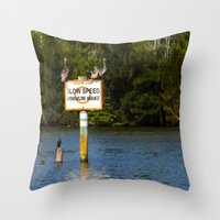 manatee Throw Pillows featuring Manatee Zone by Roger Wedegis