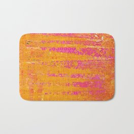 Orange & Hot Pink Abstract Art Collage Bath Mat