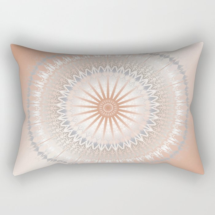 Rose Gold Gray White Mandala Rectangular Pillow