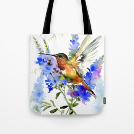 Alen's Hummingbird and Blue Flowers Tote Bag