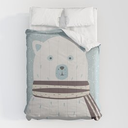 Cute Bear announces arrival of a baby boy.  illustration Comforters