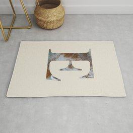 Letter 'E' Monogram with Abstract Art Rug