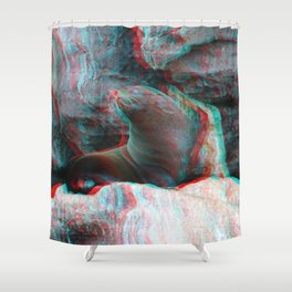 Galapagos fur seal anaglyph Shower Curtain
