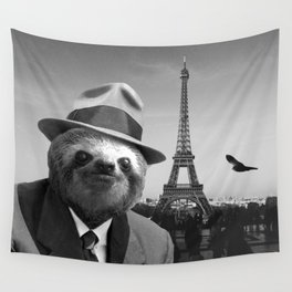 Sloth in Paris Wall Tapestry