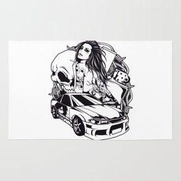 Tattoo GIRL with SKULL AND CAR - Snake Rug
