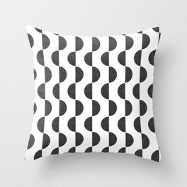 Black Semicircles Throw Pillow