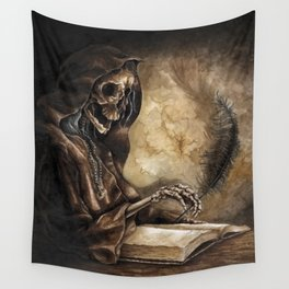 Skeleton Scribe Wall Tapestry