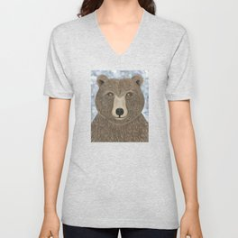 brown bear woodland animal portrait Unisex V-Neck