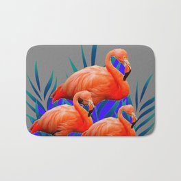 Decorative Tropical  Florida Flamingos Blue-Grey Patterns Bath Mat