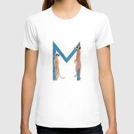 M is for Meerkat Letter Alphabet Decor Design Art Pattern T-shirt