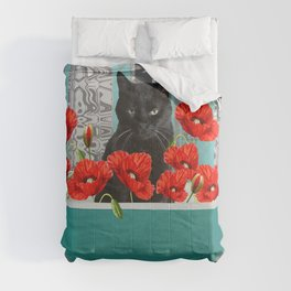 SNOKI - Black Cat Bathtub Poppies Flower Blossoms Comforters