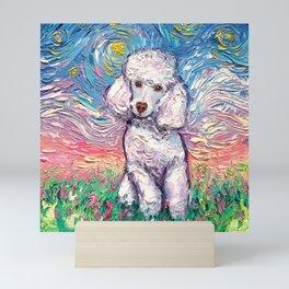 White Poodle Night Mini Art Print