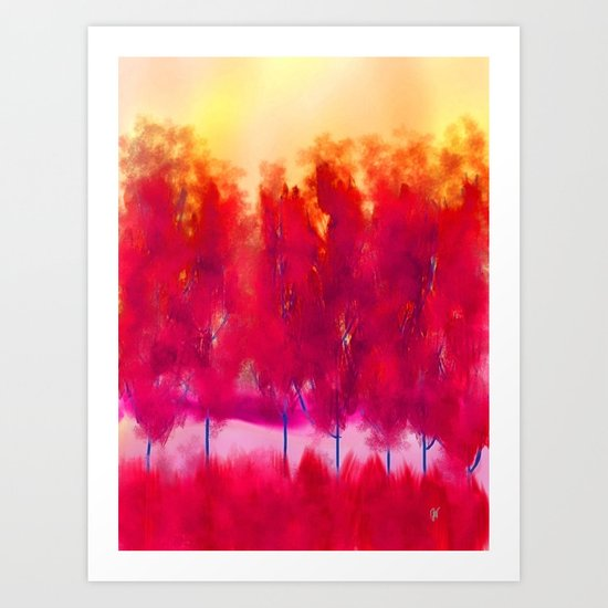 Sunset in Fall Abstract Landscape Art Print