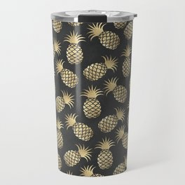 Modern chalk black elegant faux gold pineapple pattern Travel Mug