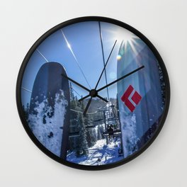 Tips Up // Skilift Riding Blue Mountain and Sky Crisp Snowy Day Wall Clock