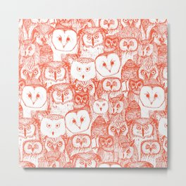 just owls flame orange Metal Print