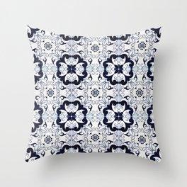 Portuguese Tiles Azulejos Blue and White Pattern Throw Pillow