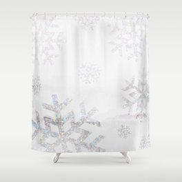 Snowflake Glitter Shower Curtain