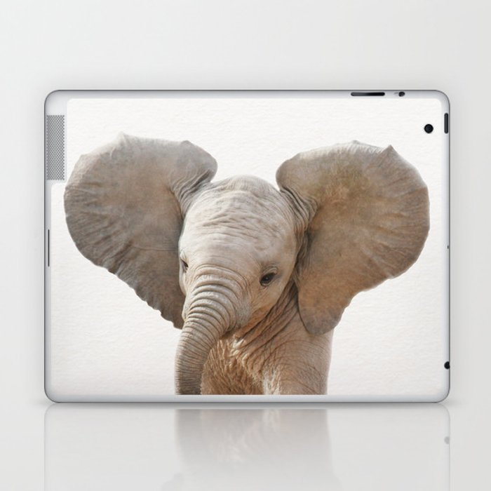 Baby Elephant, Baby Animals Art Prints by Synplus Laptop & iPad Skin