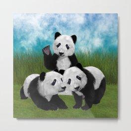 Panda Bear Cubs Love Metal Print