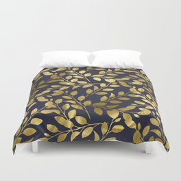 Gold Leaves on Navy Duvet Cover