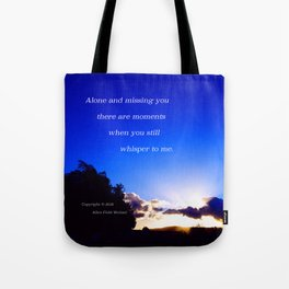 """""""Flickering Sunset"""" with poem: There Are Moments Tote Bag"""
