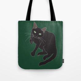 Black Cat Illustrated Print Emerald Green Tote Bag