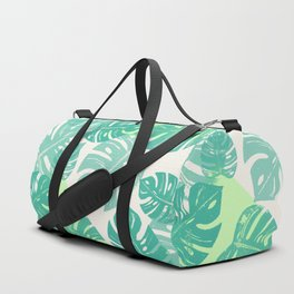 Linocut Monstera Green Duffle Bag
