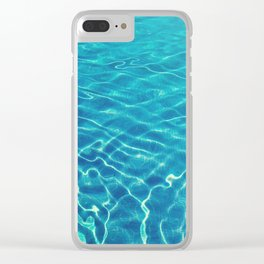 Ripples and wave patterns on crystal clear blue water Clear iPhone Case