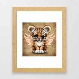 Cute Baby Tiger Cub with Fairy Wings  Framed Art Print