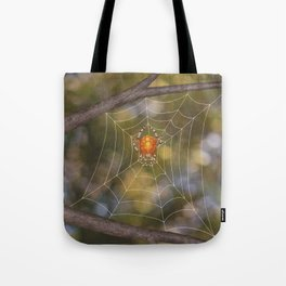marbled orb weaver on a web Tote Bag