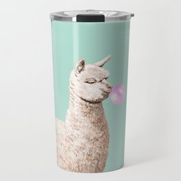 Playful Alpaca Chewing Bubble Gum in Green Travel Mug