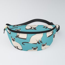 Siamese Cats sparse on turquoise Fanny Pack