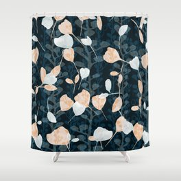 Berry Vine Print Teal and Peach Shower Curtain