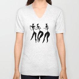 three women - primitive art Unisex V-Neck