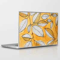 striped Laptop & iPad Skins featuring Striped leaves by Marta Li
