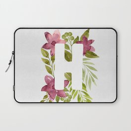 Monogram H with red watercolor flowers and leaves. Floral letter H Laptop Sleeve