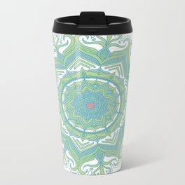 Blue and Green Flower Mandala II Metal Travel Mug