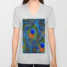 FEATHERY BLUE PEACOCK ABSTRACTED  FEATHERS ART PILLOWS Unisex V-Neck
