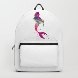 Mermaid Art Colorful Purple Watercolor Gift Fantasy Art Backpack