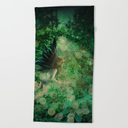 Abstract illustration of fairy fly in the forest Beach Towel