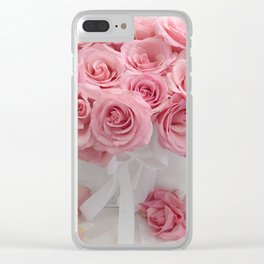 Pink Roses White Roses Shabby Chic Romantic Floral Home Decor Clear iPhone Case