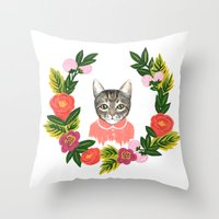 leah flores Throw Pillows featuring Scout con Flores by Leah Romero
